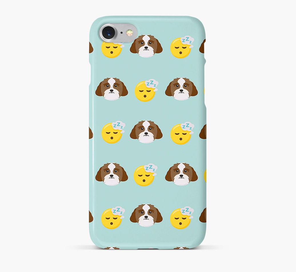 'Tired' Pattern Phone Case with Lhasa Apso Icon
