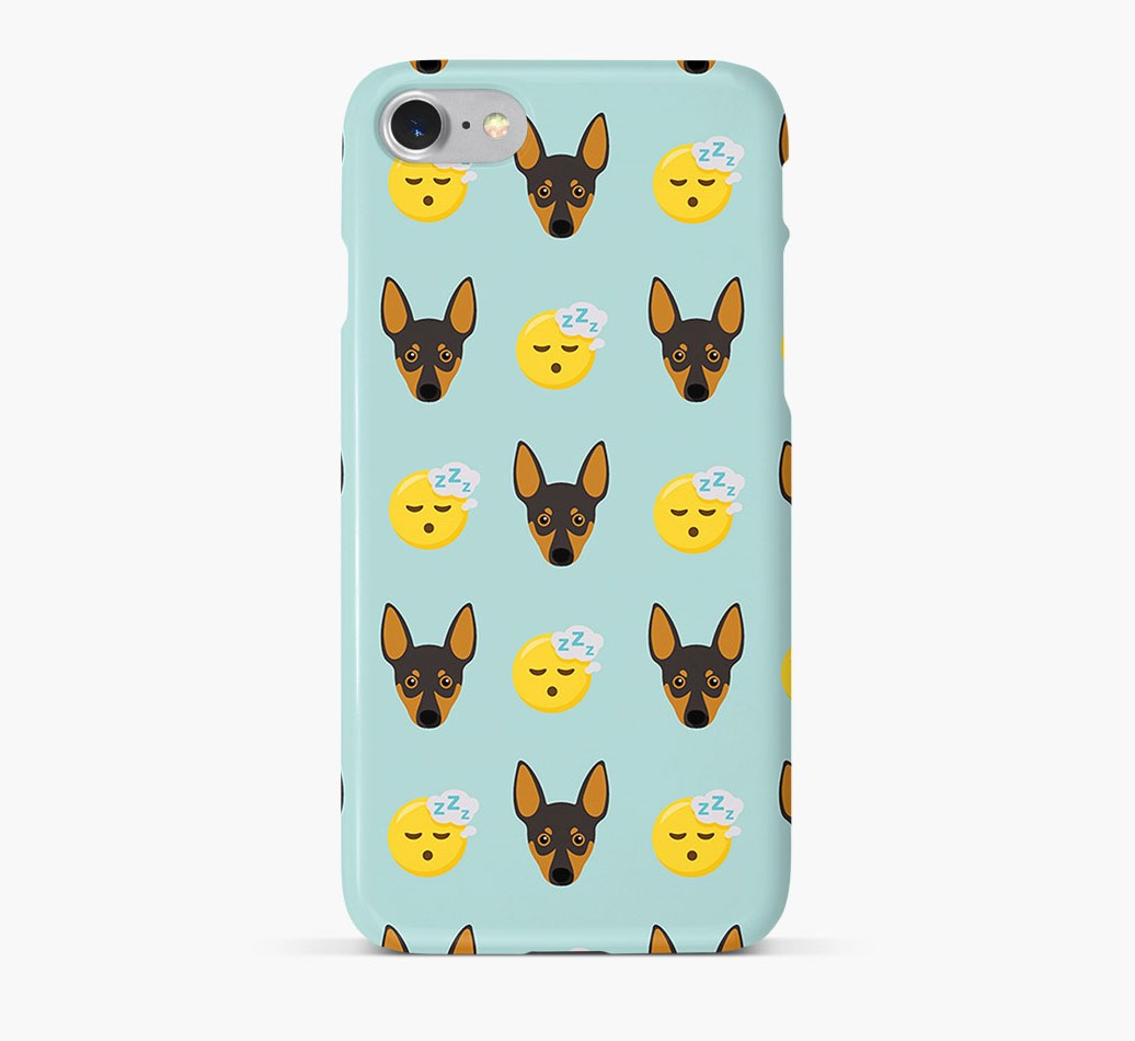 'Tired' Pattern Phone Case with Miniature Pinscher Icon