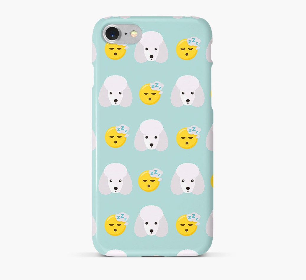 'Tired' Pattern Phone Case with Miniature Poodle Icon