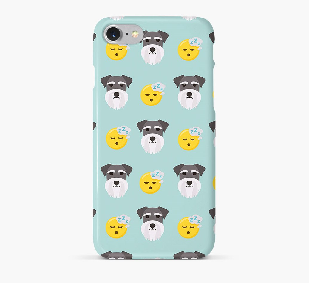 'Tired' Pattern Phone Case with Miniature Schnauzer Icon
