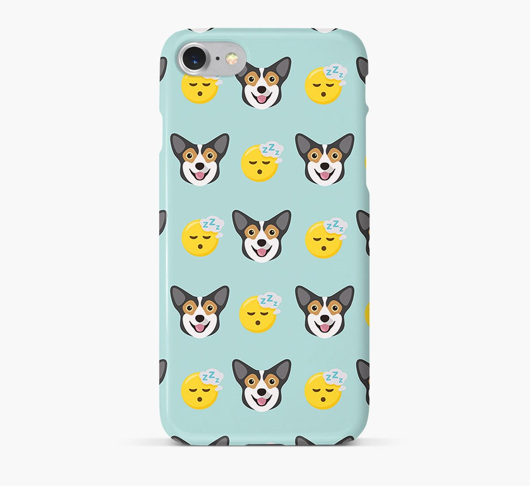 'Tired' Pattern Phone Case with Pembroke Welsh Corgi Icon