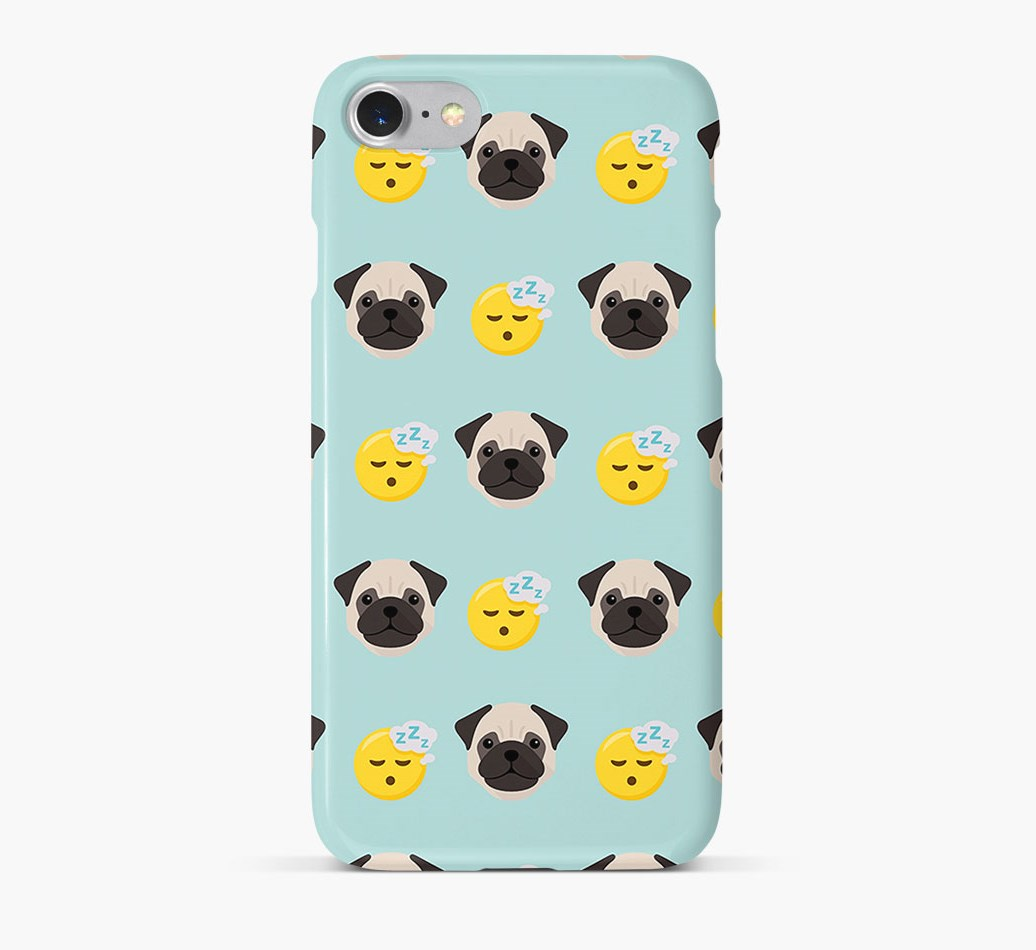'Tired' Pattern Phone Case with Pug Icon