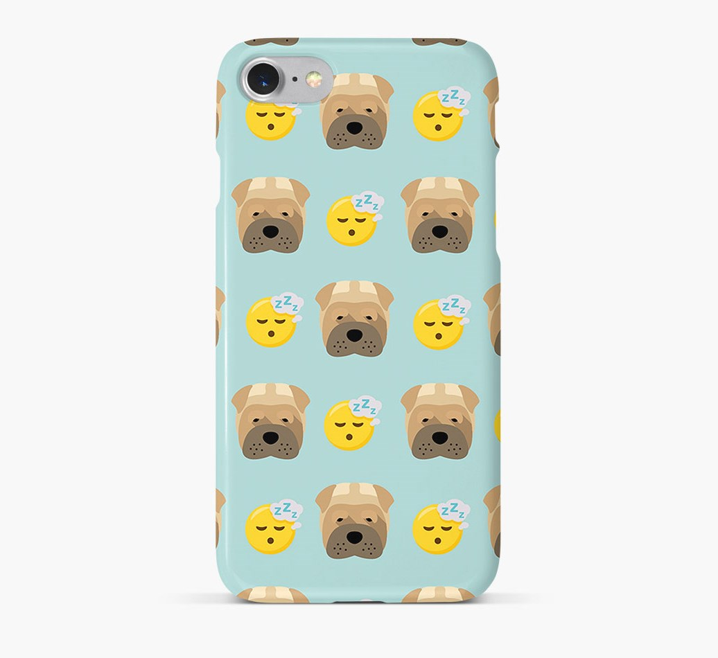 'Tired' Pattern Phone Case with Shar Pei Icon