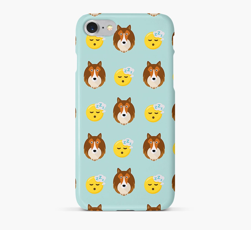 'Tired' Pattern Phone Case with Shetland Sheepdog Icon