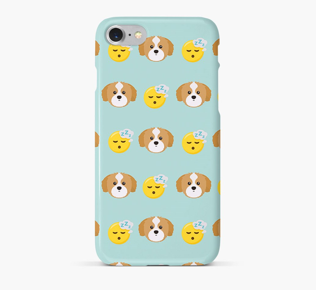'Tired' Pattern Phone Case with Shih Tzu Icon