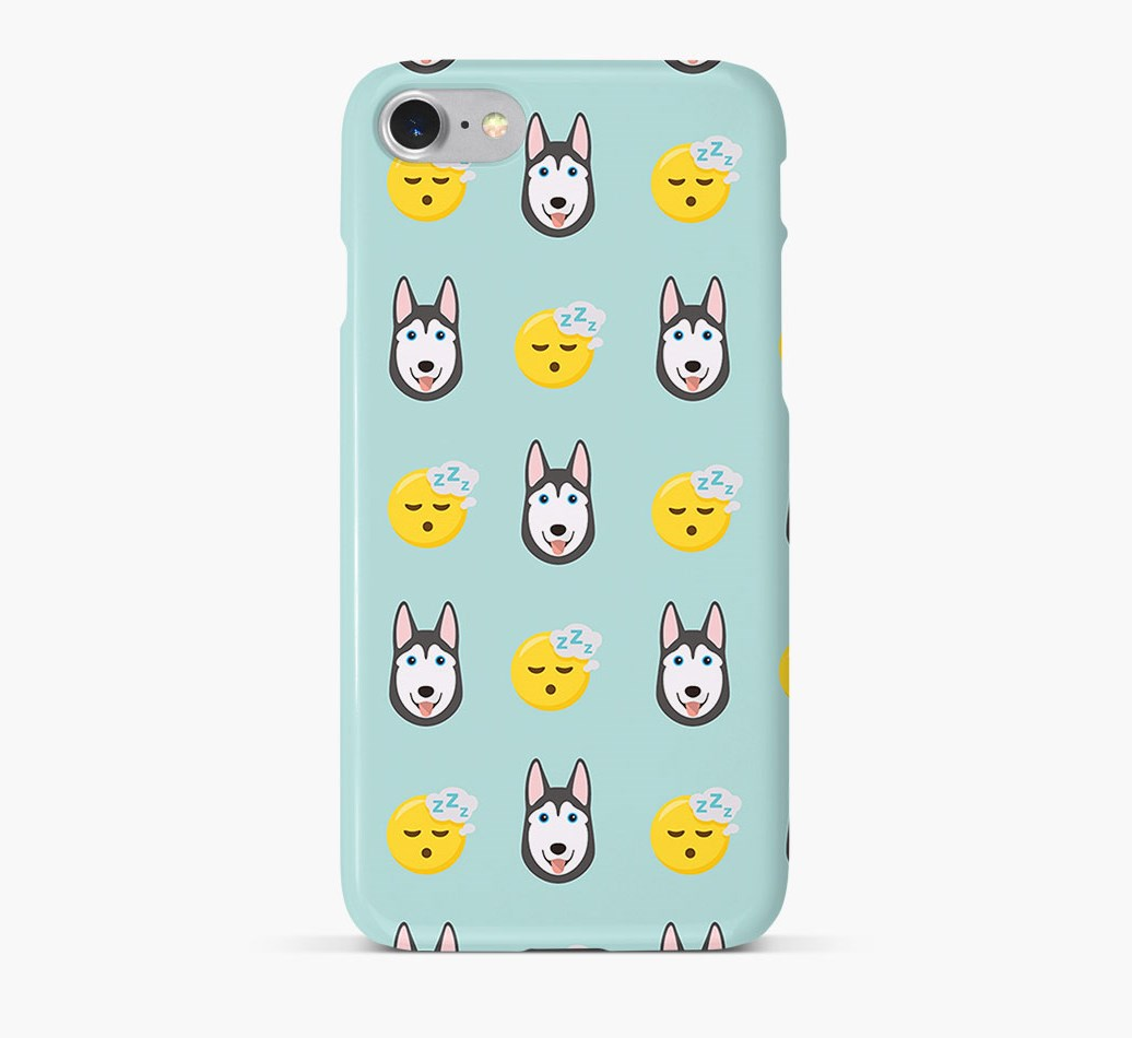 'Tired' Pattern Phone Case with Siberian Husky Icon