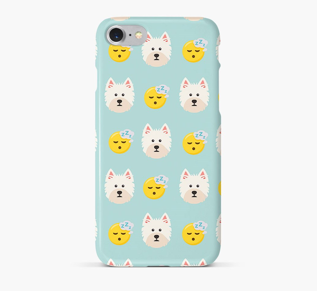 'Tired' Pattern Phone Case with West Highland White Terrier Icon