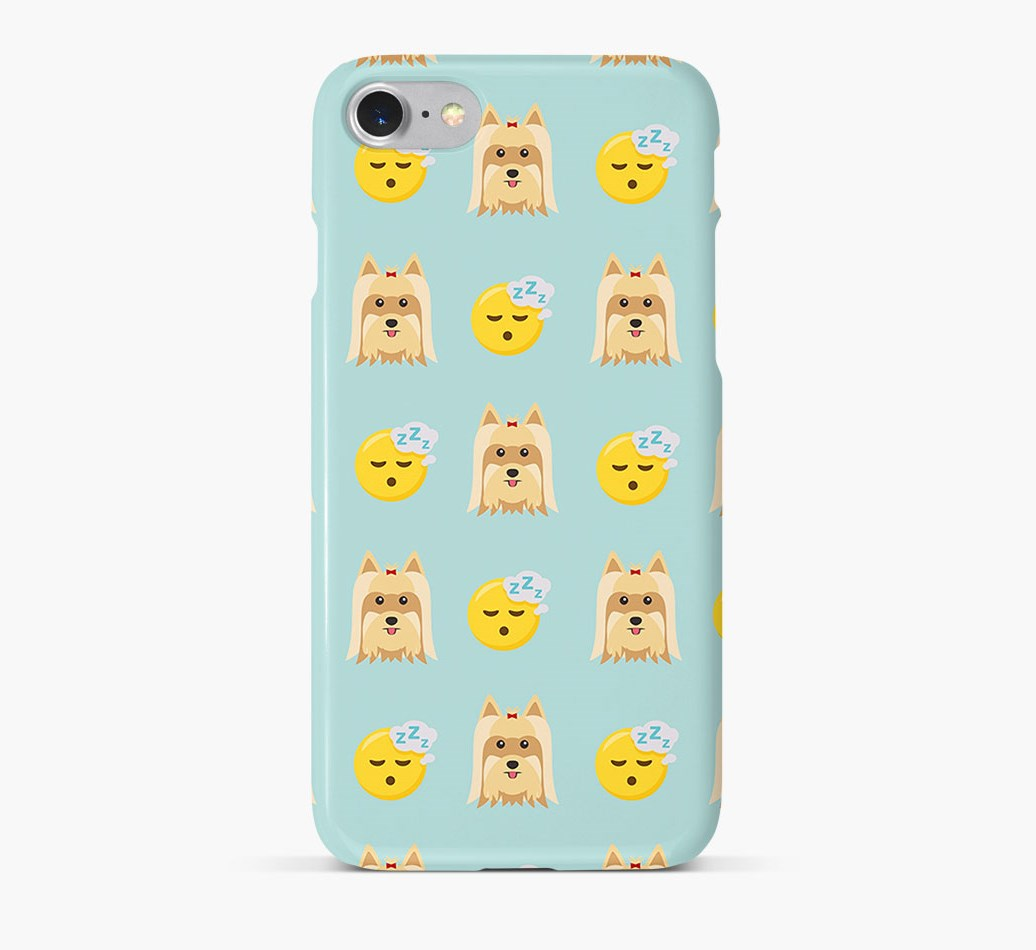 'Tired' Pattern Phone Case with Yorkshire Terrier Icon