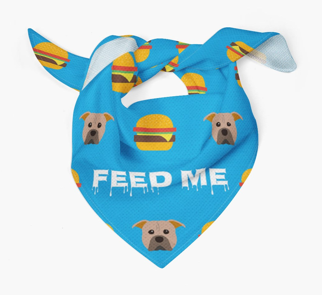 'Feed Me' Burgers Bandana with American Pit Bull Terrier Icons