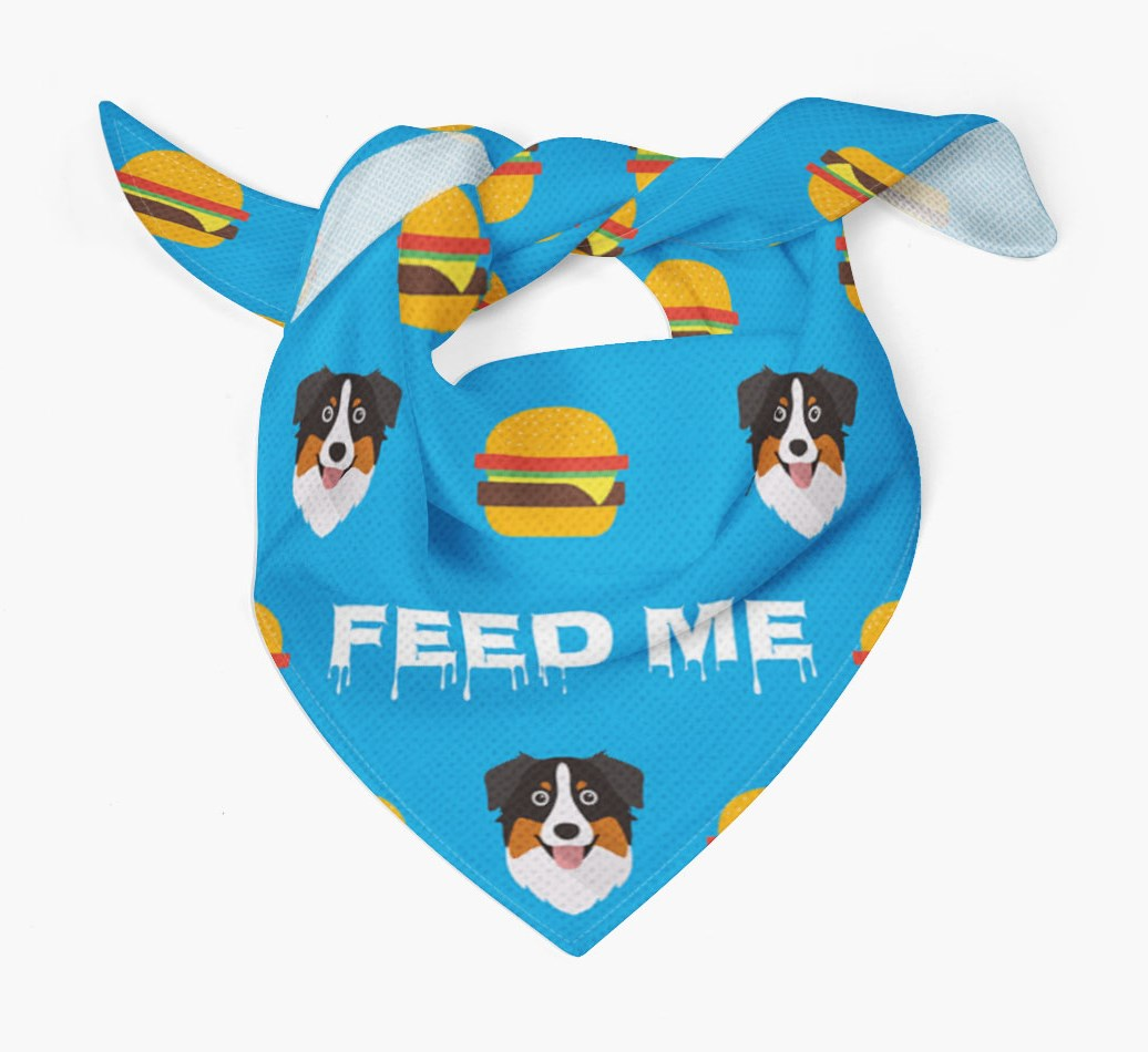'Feed Me' Burgers Bandana with Australian Shepherd Icons