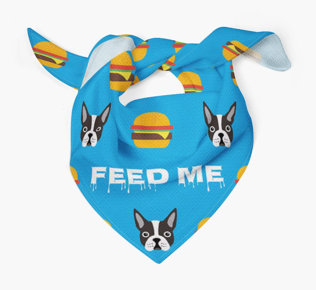 'Feed Me' Burgers Bandana with Boston Terrier Icons