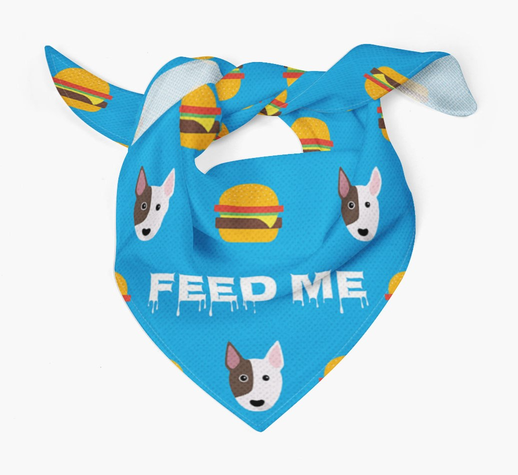 'Feed Me' Burgers Bandana with Bull Terrier Icons