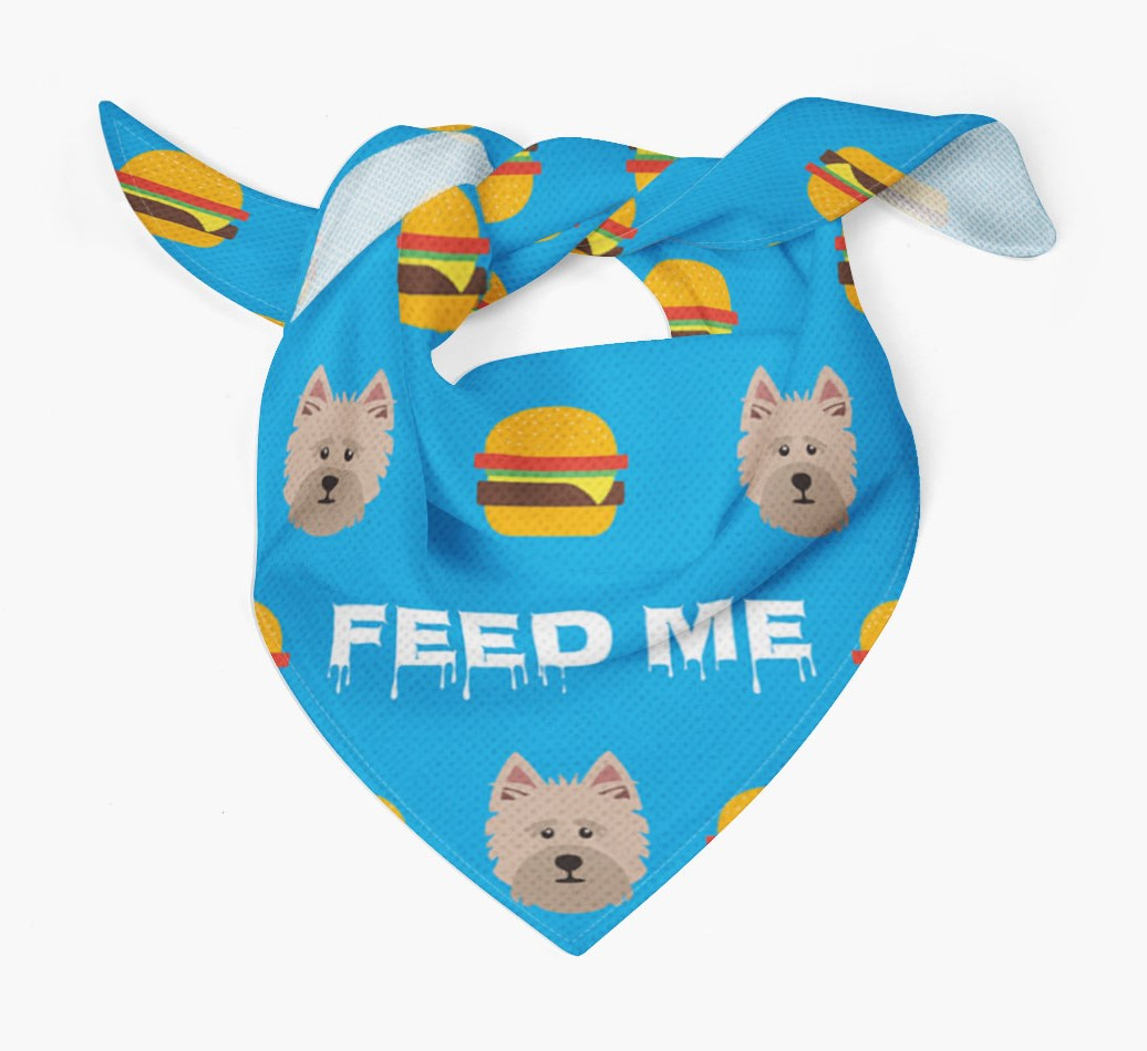 'Feed Me' Burgers Bandana with Cairn Terrier Icons