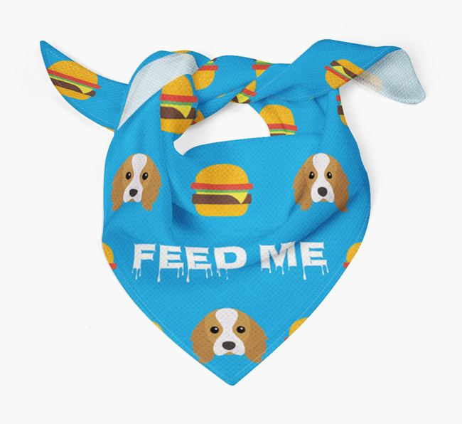 'Feed Me' Burgers Bandana with Cavalier King Charles Spaniel Icons