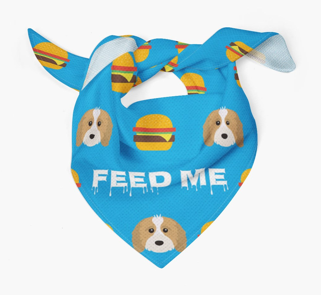 'Feed Me' Burgers Bandana with Cavapoo Icons