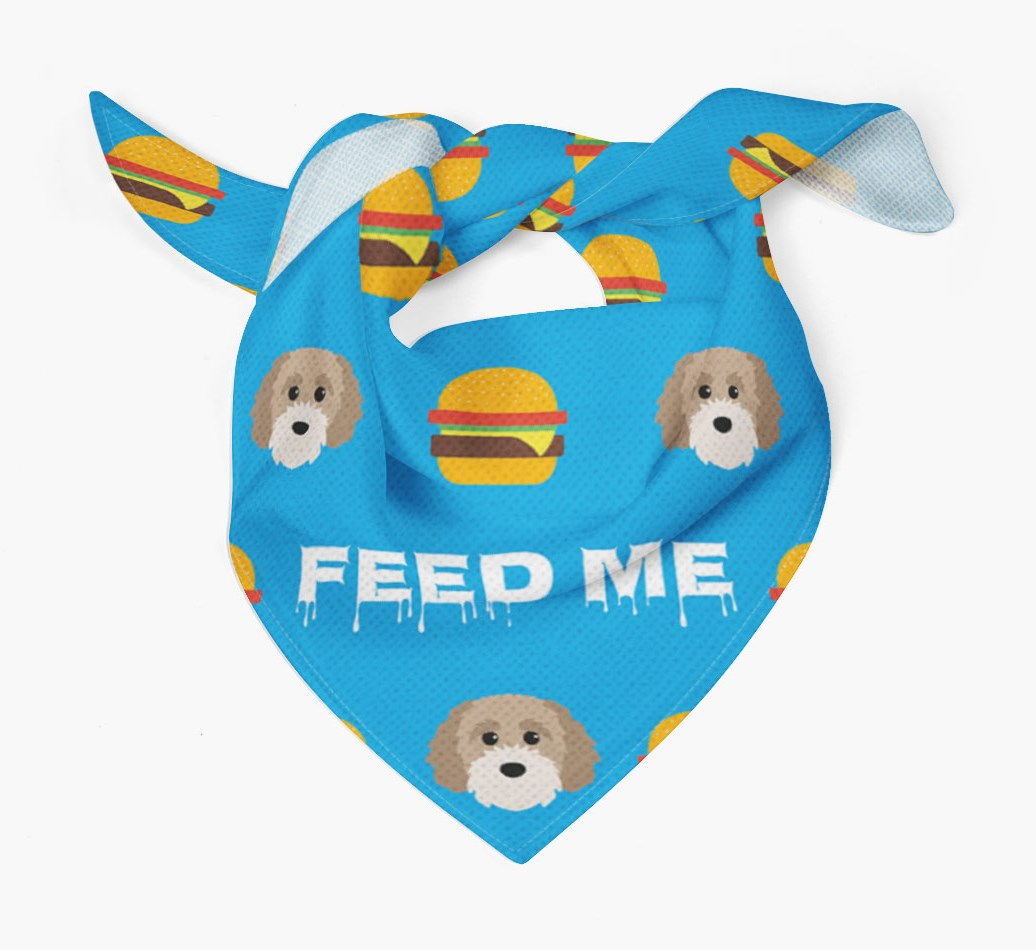'Feed Me' Burgers Bandana with Cavapoochon Icons