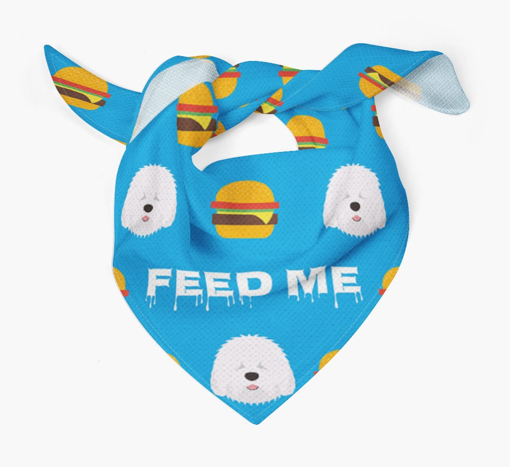 'Feed Me' Burgers Bandana with Old English Sheepdog Icons