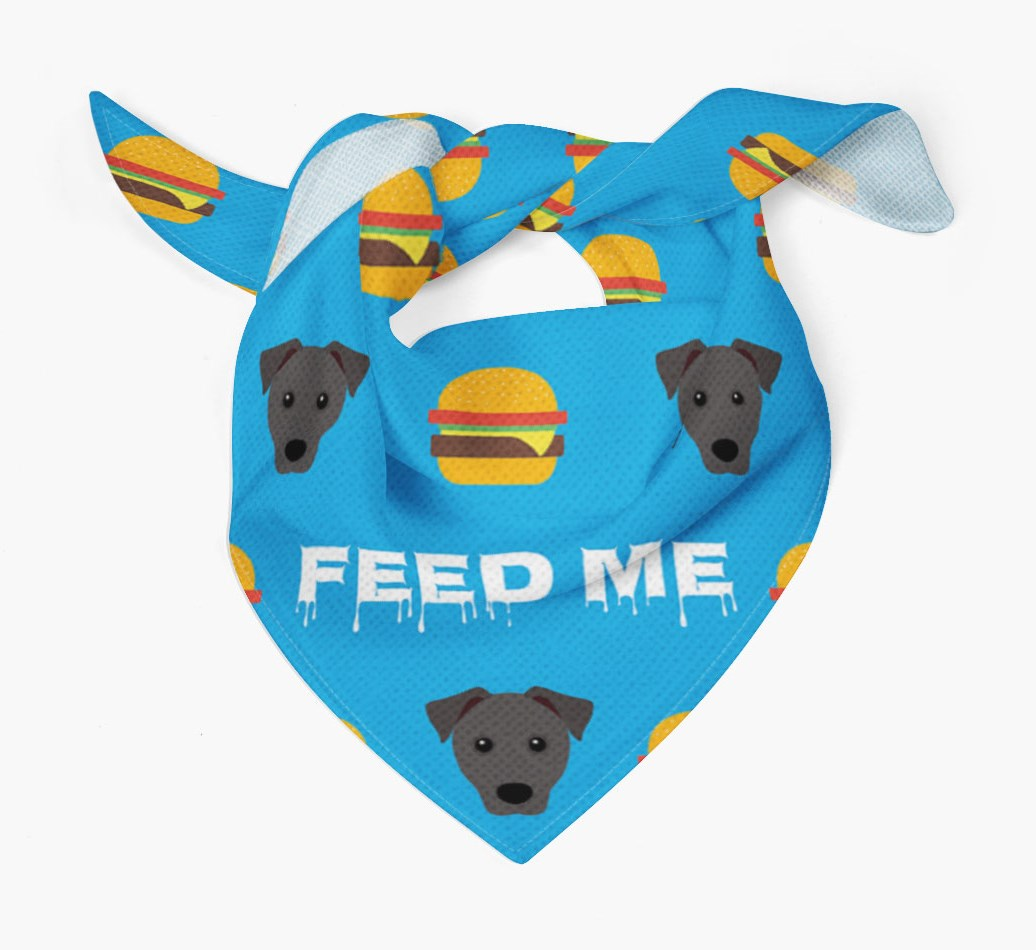 'Feed Me' Burgers Bandana with Patterdale Terrier Icons