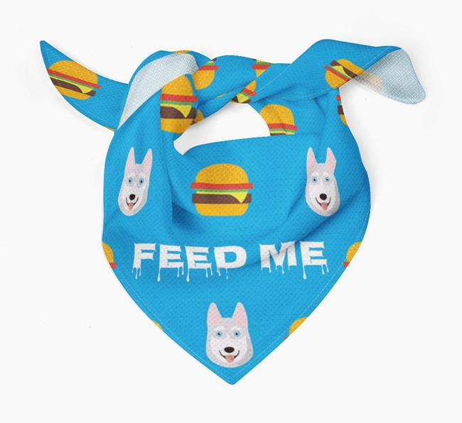 'Feed Me' Burgers Bandana with Siberian Husky Icons