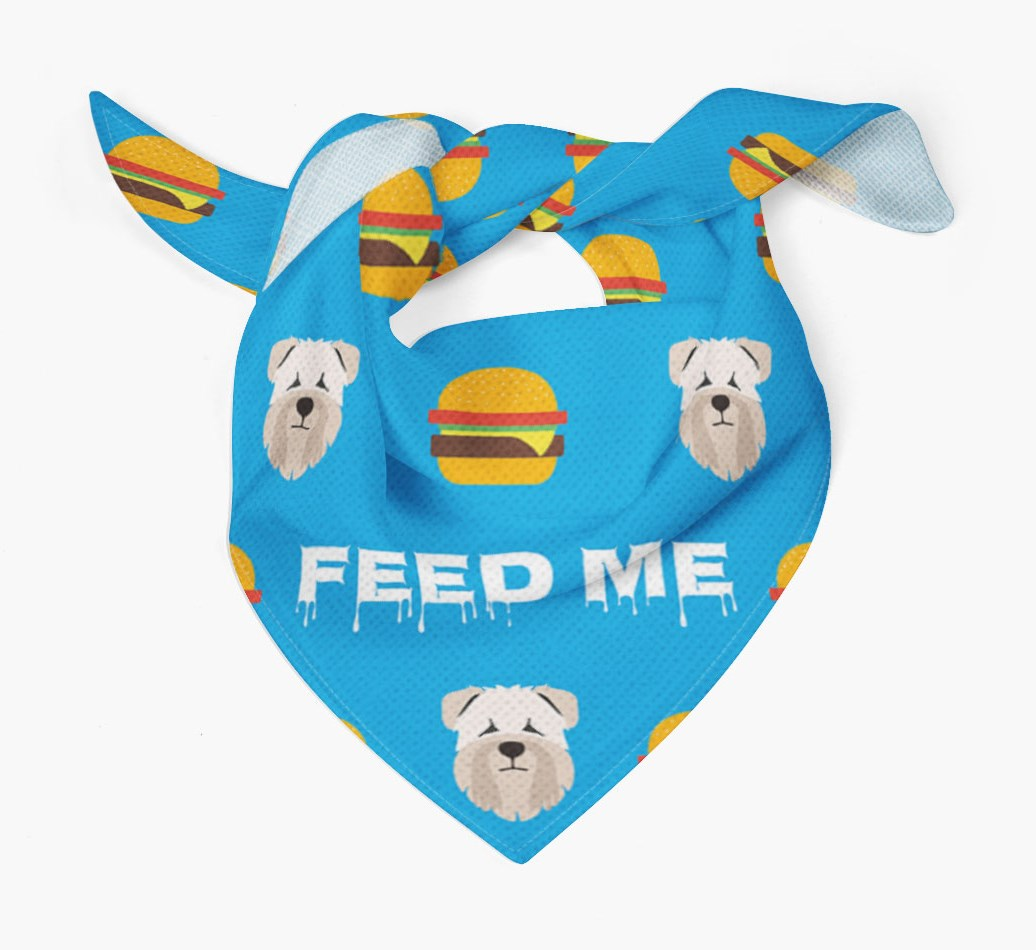 'Feed Me' Burgers Bandana with Soft Coated Wheaten Terrier Icons
