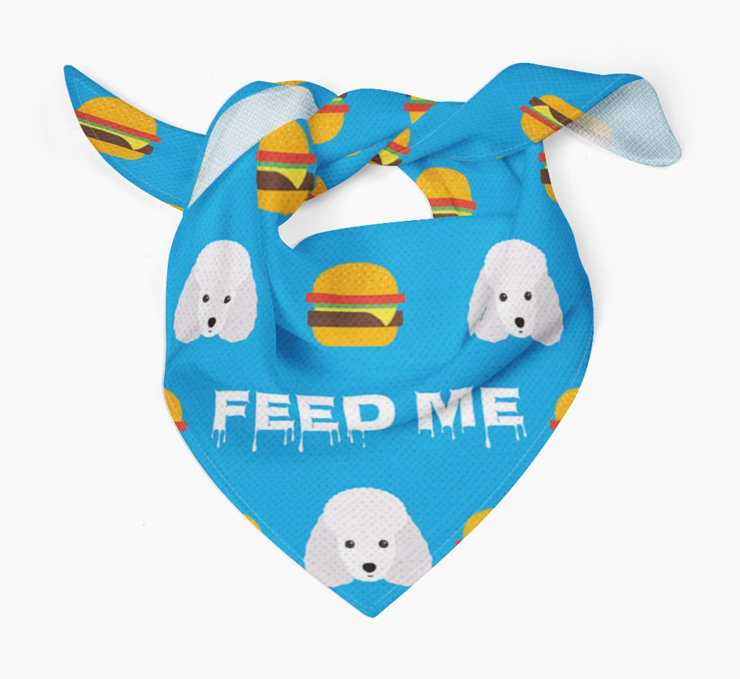 'Feed Me' Burgers Bandana with Toy Poodle Icons