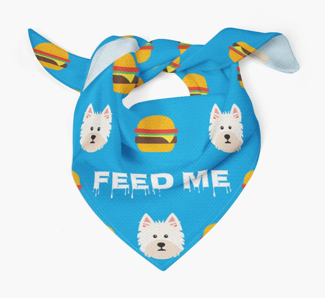 'Feed Me' Burgers Bandana with West Highland White Terrier Icons