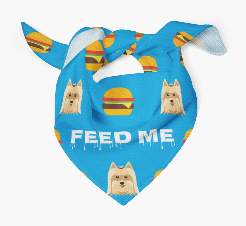 'Feed Me' Burgers Bandana with Yorkshire Terrier Icons
