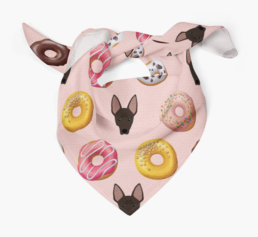 Donuts Bandana with American Hairless Terrier Icons