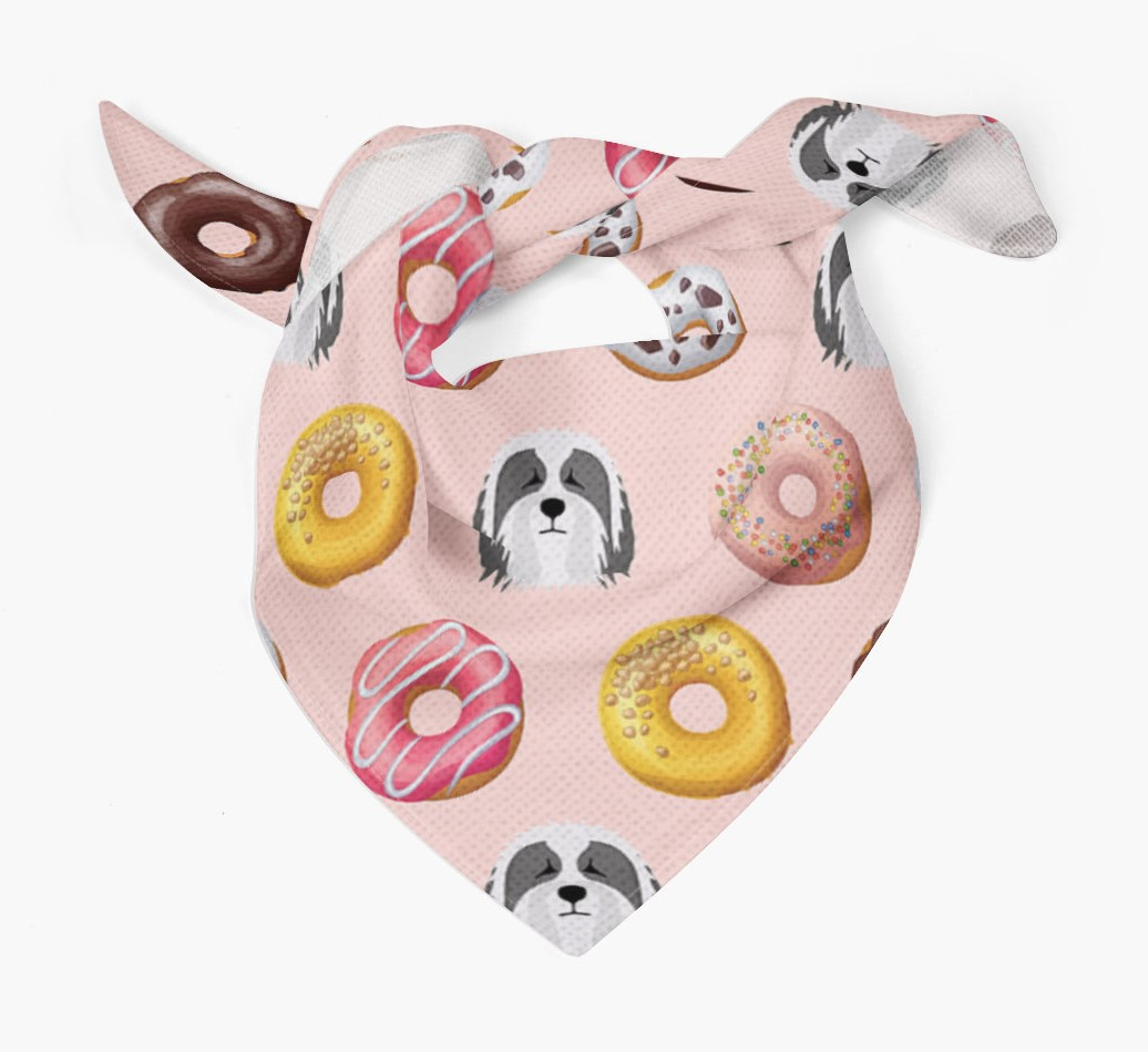 Donuts Bandana with Bearded Collie Icons