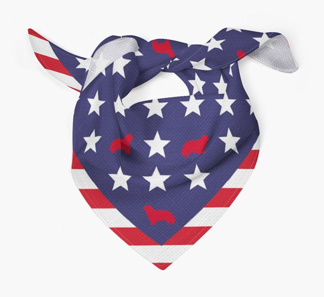Stars and Stripes Bandana with Cavalier King Charles Spaniel Silhouettes
