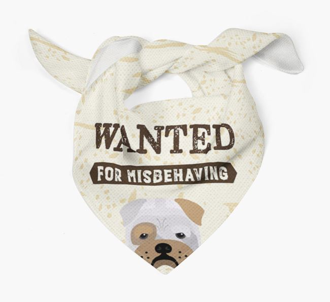 'Wanted for Misbehaving' Bandana with Bull Pei Icon