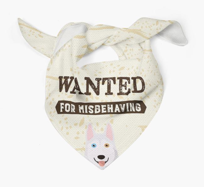 'Wanted for Misbehaving' Bandana with Siberian Husky Icon