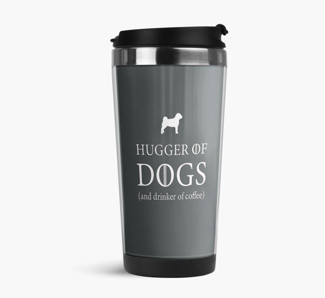 'Hugger of Dogs' Travel Flask with Pugapoo Silhouettes