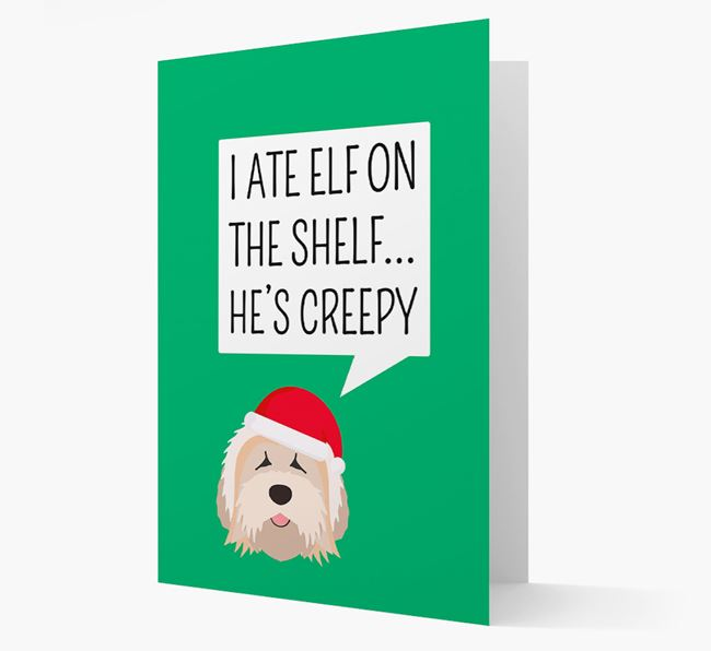 """I ate Elf on the Shelf' Card with your Tibetan Terrier Christmas Icon"