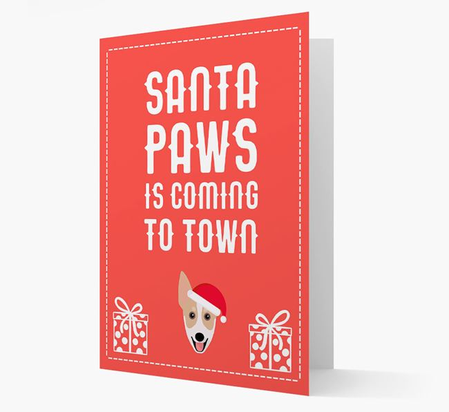 'Santa Paws is coming to town' Card with your Australian Working Kelpie Christmas Icon