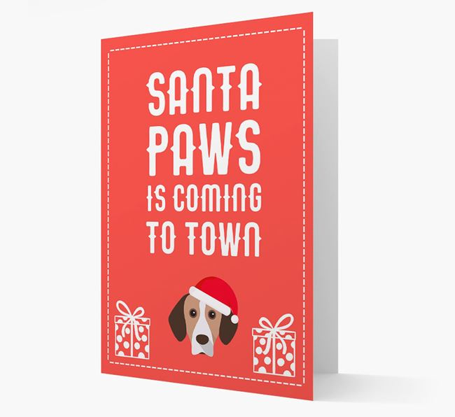 'Santa Paws is coming to town' Card with your Bavarian Mountain Hound Christmas Icon