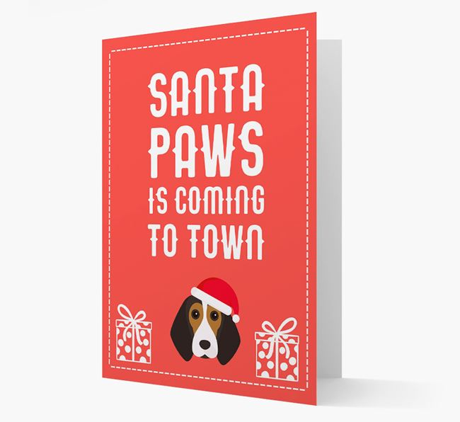 'Santa Paws is coming to town' Card with your Beagle Christmas Icon