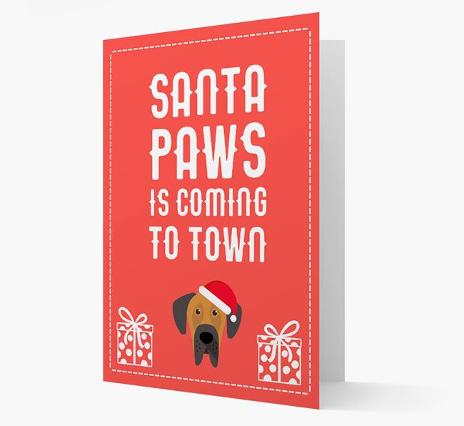 'Santa Paws is coming to town' Card with your Dog Christmas Icon