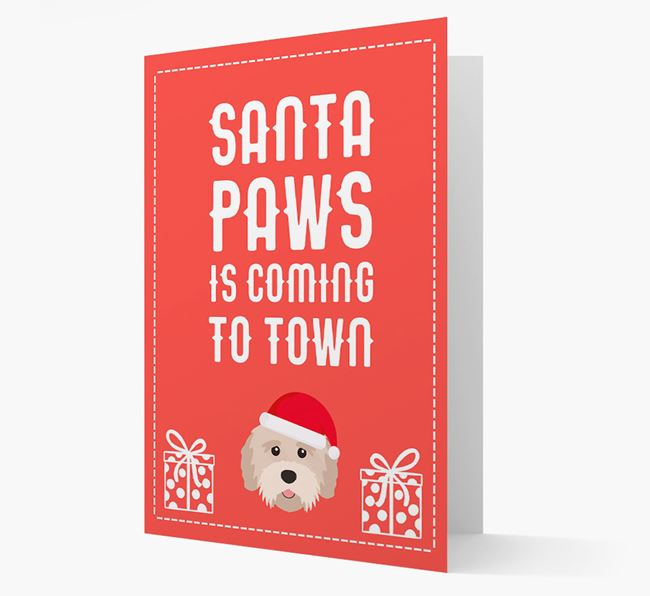 'Santa Paws is coming to town' Card with your Tibetan Terrier Christmas Icon