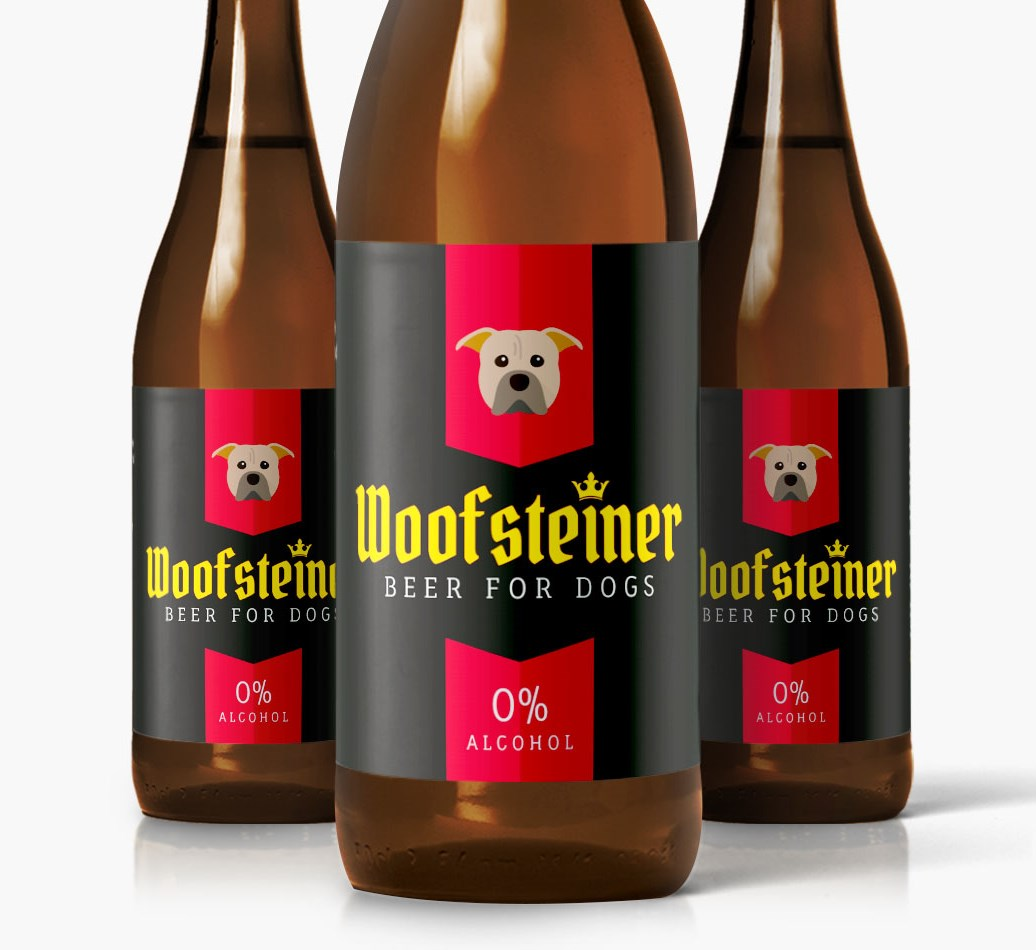 Woofsteiner American Pit Bull Terrier Dog Beer close up on label