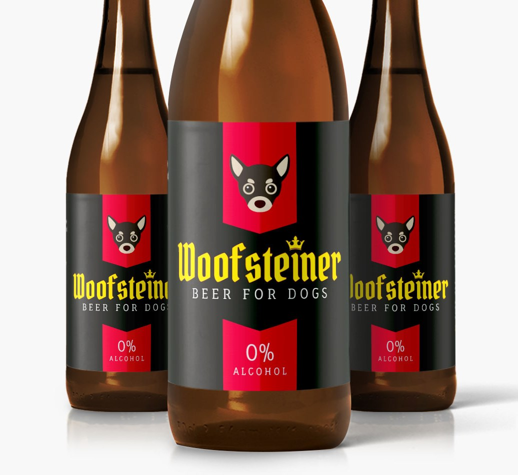 Woofsteiner Chihuahua Dog Beer close up on label