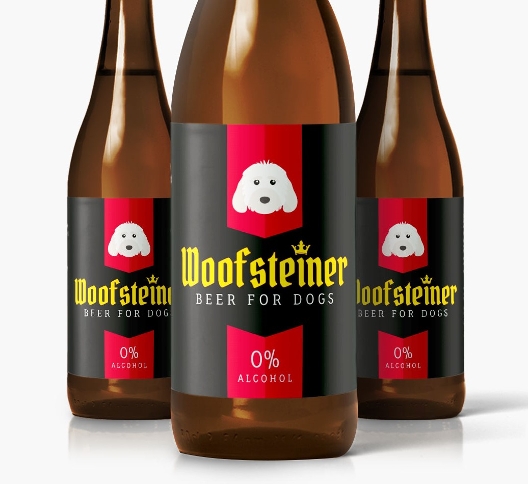 Woofsteiner Cockapoo Dog Beer close up on label