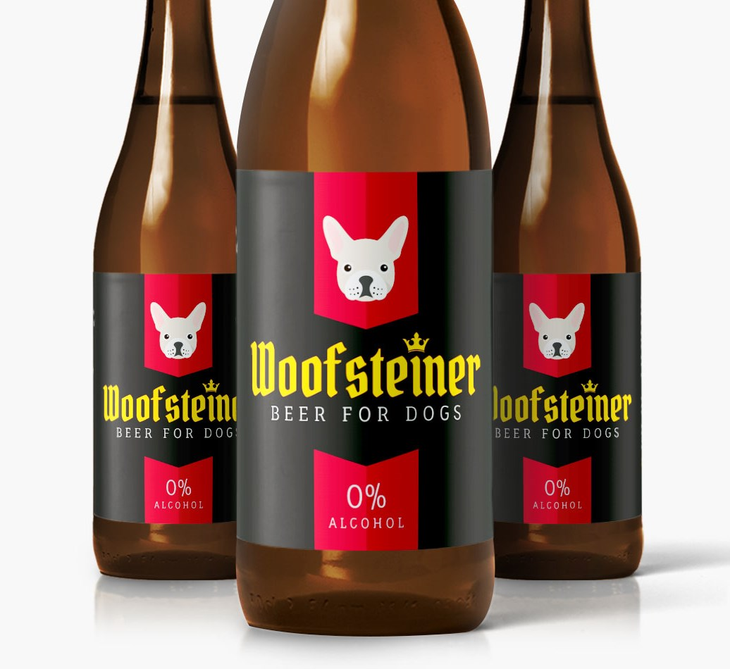 Woofsteiner French Bulldog Dog Beer close up on label