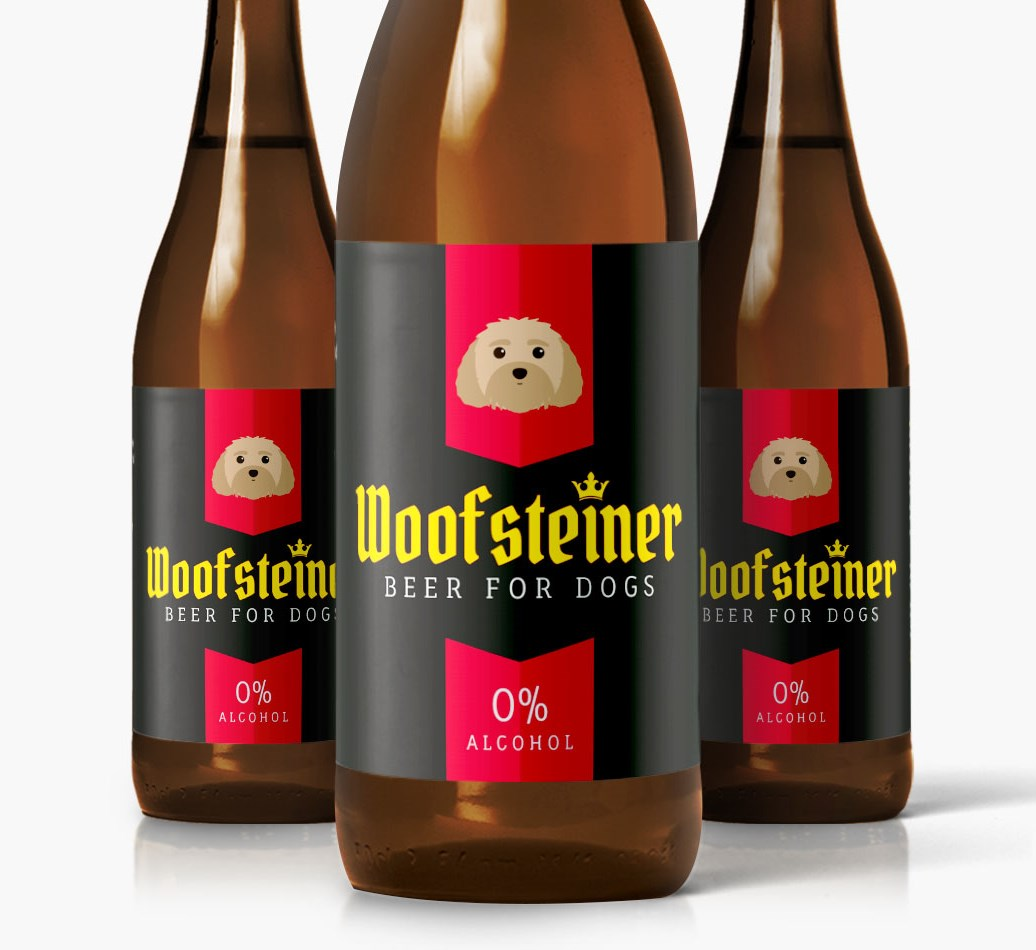 Woofsteiner Malti-Poo Dog Beer close up on label