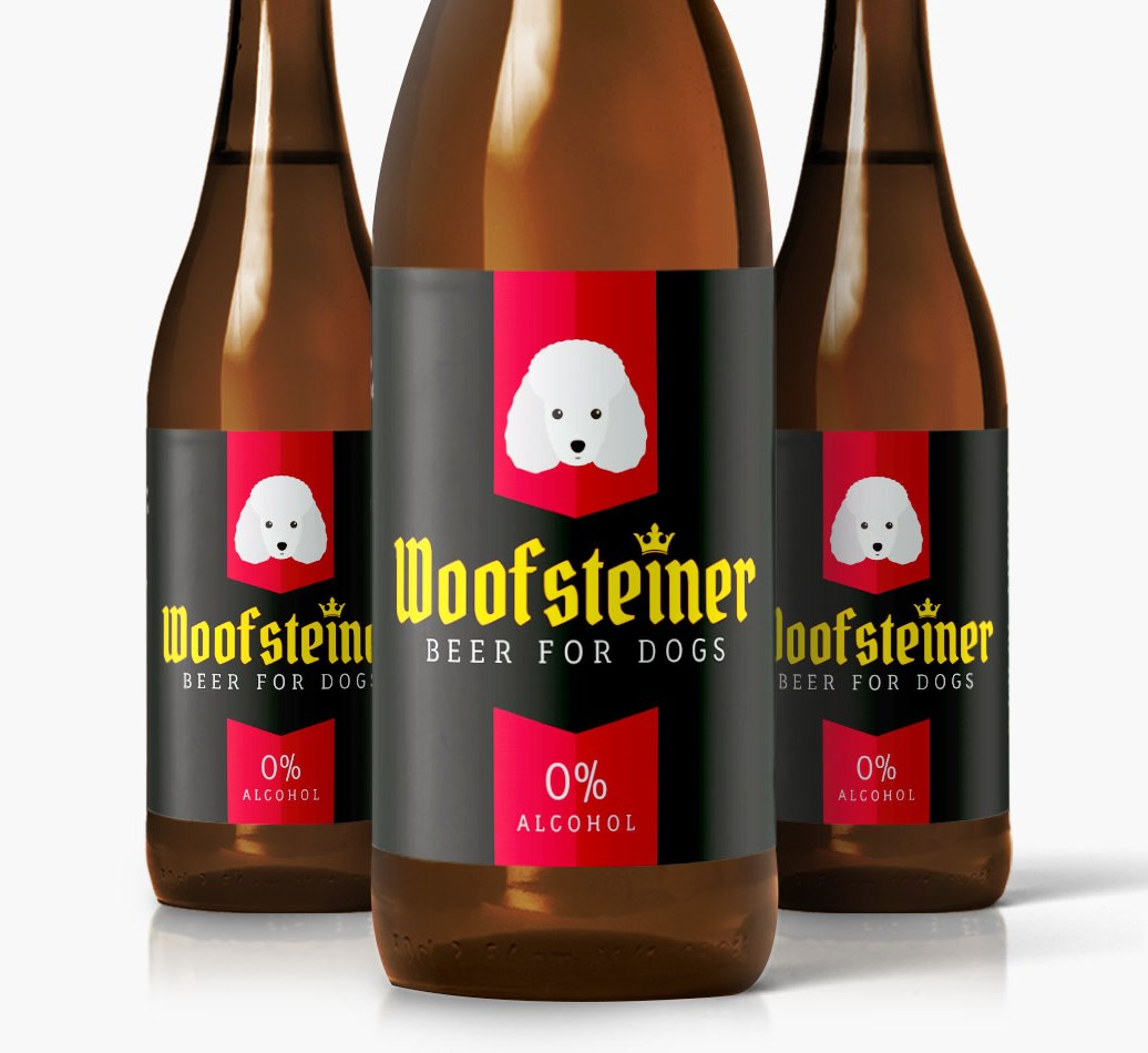 Woofsteiner Miniature Poodle Dog Beer close up on label