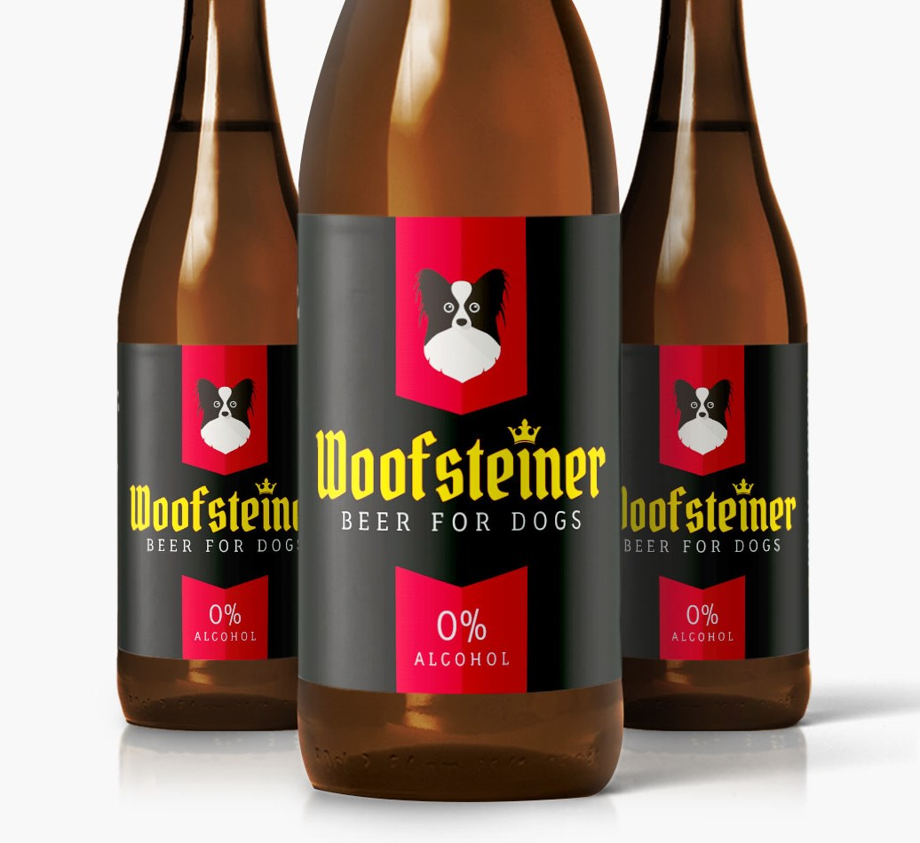 Woofsteiner Papillon Dog Beer close up on label