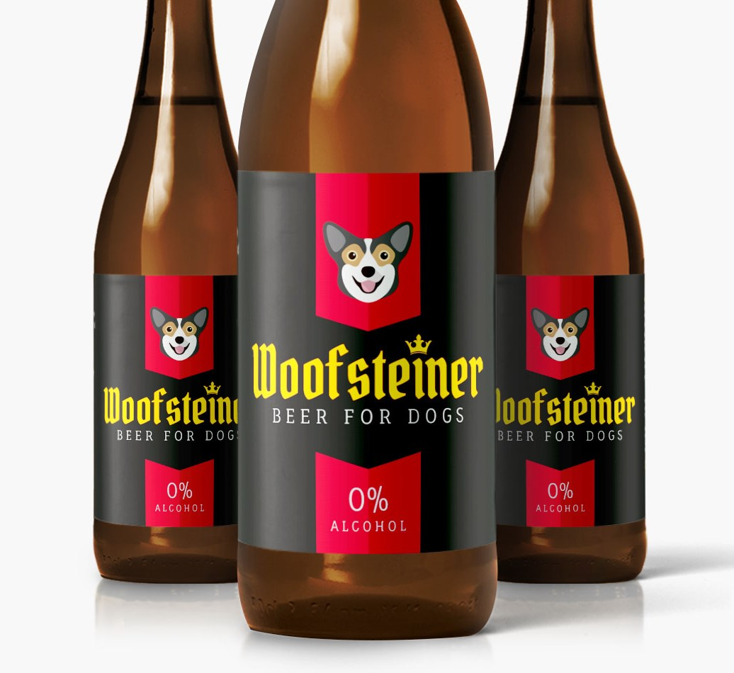 Woofsteiner Pembroke Welsh Corgi Dog Beer close up on label
