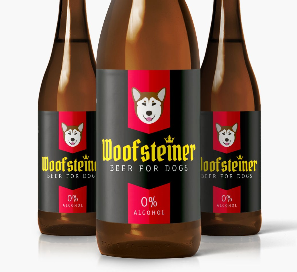 Woofsteiner Rescue Dog Dog Beer close up on label