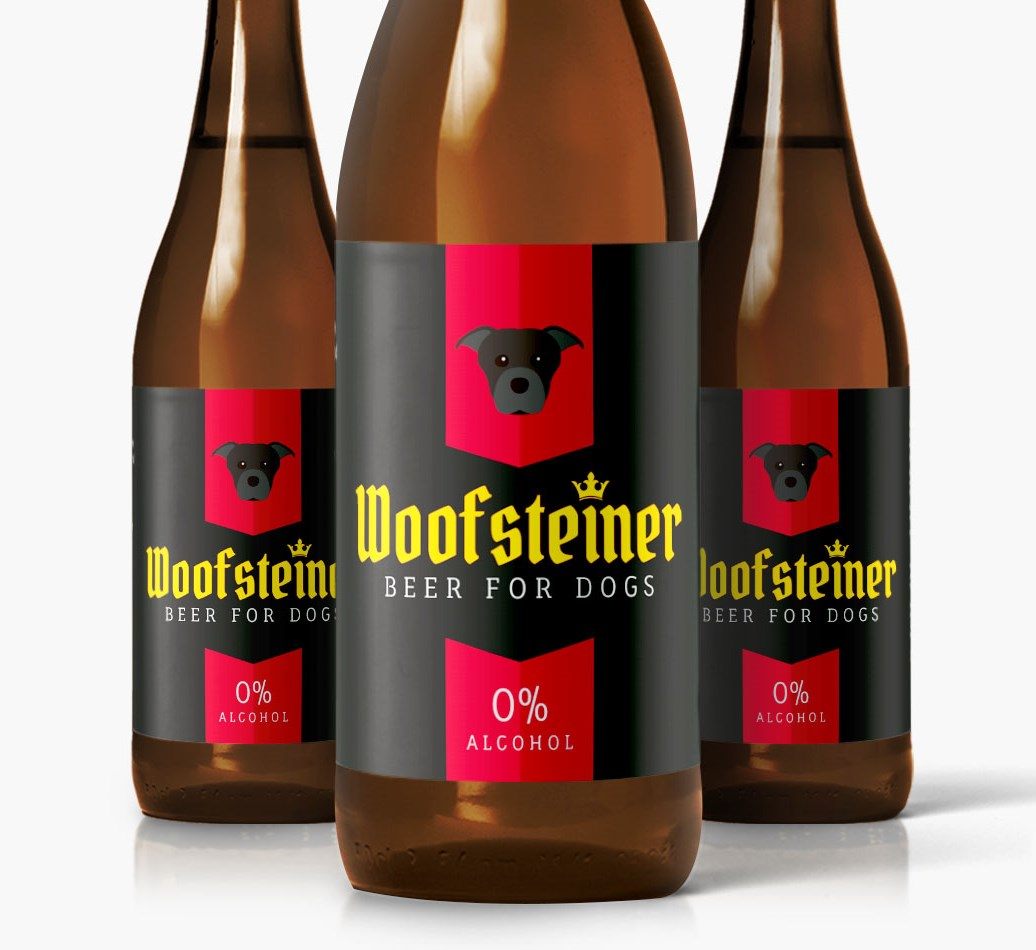 Woofsteiner Staffordshire Bull Terrier Dog Beer close up on label