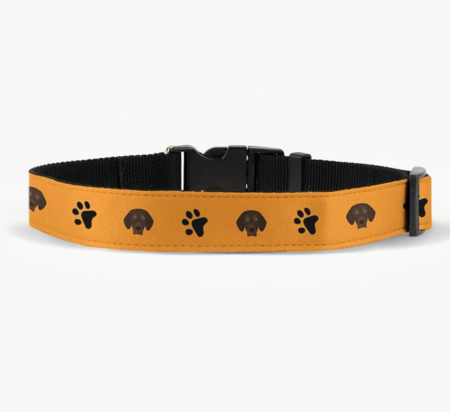 Fabric Collar with Paw Prints and Bavarian Mountain Hound Icon